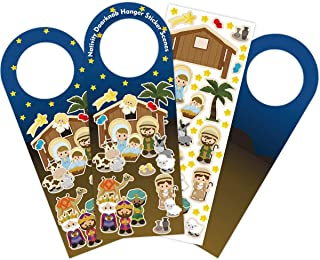 Nativity Stickers Make a Nativity Scence Sticker Door Nob Hangers for VBS Classroom Craft Kit Christmas Ornament Holiday G...