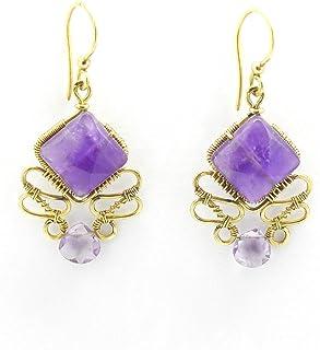 Orecchini pendenti ametista ottone goccia viola mamma artigianali vintage regalo pietre dure fatti a mano natale donna