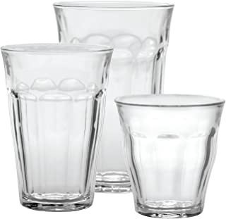 Duralex CC1/18 Made In France Picardie 18-Piece Clear Drinking Glasses & Tumbler Set: Set includes: (6) 8-3/4 oz, (6) 12 -...