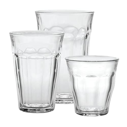 Duralex CC1/18 Made In France Picardie 18-Piece Clear Drinking Glasses & Tumbler Set: Set includes: (6) 8-3/4 oz, (6) 12-5/8 oz, (6) 16-7/8 oz