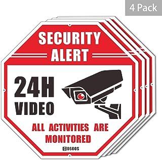4-Pack Video Surveillance Sign CCTV Security Alert Octágono 12x12 Aluminio Reflectante Libre de óxido COSOOS Impermeable 24 Horas Señal de Advertencia de Seguridad para el Sistema de cámaras