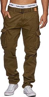 Indicode Caballeros William Pantalón Cargo En Algodón con 7 Bolsillos Y Cinturón Incluido | Largo Regular Fit Pantalones De Tiempo Libre Senderismo Trekking Aire para Hombres
