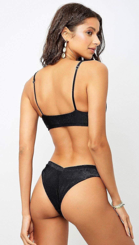 Frankies Bikini Austin Ribbed Swim Knot Top Black