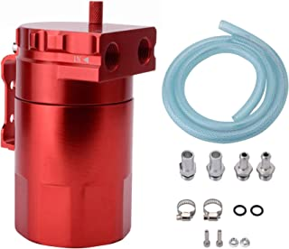 ESPEEDER Universal Aluminum Car Truck Engine Oil Catch Can Tank Polish Baffled Reservoir Red 300ml