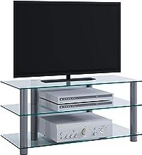 Porta Tv Vetro E Acciaio.Amazon It Porta Tv Vetro