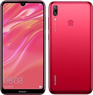 """Huawei Y7 2019 (32GB, 3GB) 6.26"""" Dewdrop Display, 4000 mAh Battery, 4G LTE GSM Dual SIM Factory Unlocked Smartphone (Dub-LX3) - International Version, No Warranty (Red)"""
