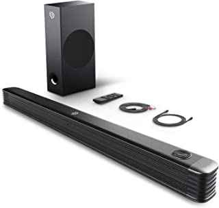 BOMAKER 2.1 Channel Soundbar with Wireless Subwoofer, 150W Soundbar for TV, 110dB Surround Sound System, Wall Mountable, Optical Input, RCA Cable