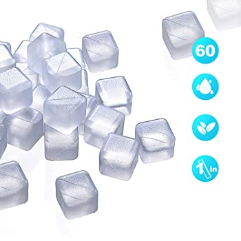 VOJP Reusable Ice Cubes Plastic Whiskey Stones to Keep your Drinks such as Lemon Wine Cold Longer Good for Party and Wedding Filled with Pure Water Comes in White Clear Color (60 Packs)