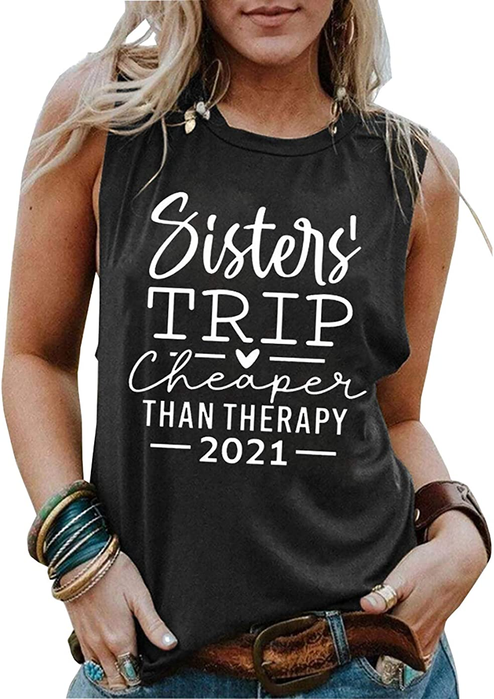 LLHXRUI Sisters 100% quality warranty Trip Cheaper Than Therapy Women 2021 Tops F Tank Factory outlet