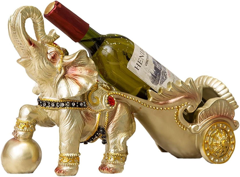 SUNBOR Botellero De Vino Resina Elefante Tire del carro Ball Artesanía Comedor Bar Decoraciones Interiores