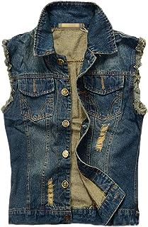 Kelmon Men's Sleeveless Lapel Denim Vest Jacket (Large, Dark Blue)
