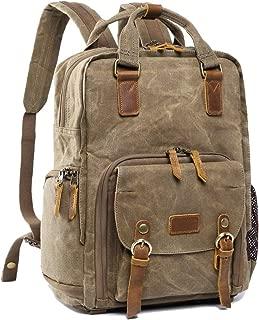 S-ZONE Waterproof Canvas Camera Backpack Bag Men Women 14 inch Laptop Tripod