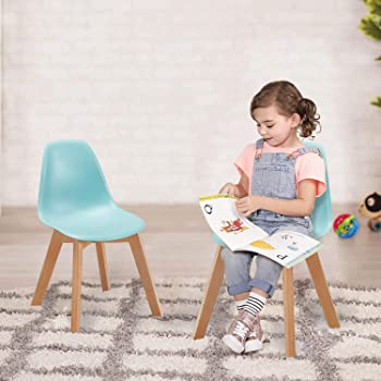 VECELO Chaise d'enfant Scandinave, Chaise Lot de 4 Salle à