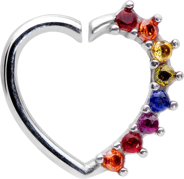 Body Candy Womens 16 Gauge 316L Steel Rainbow Heart Ear Closure Ring Daith Helix Tragus Rook 5/16