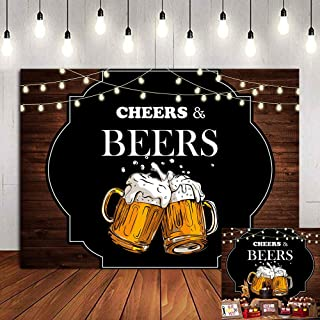 Retro Rustic Wooden Board Photography Backdrop Cheers and Beers Mug Photo Background 30th 40th 50th Birthday Party Decorat...