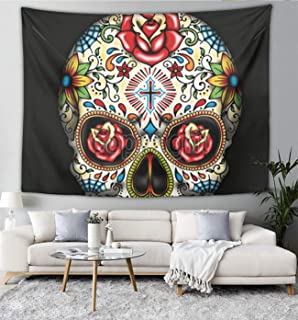 NiYoung Rose Candy Sugar Skull Black Tapestry Polyester Fabric Wall Hanging Tapestry Blanket for Bedroom Living Room Dorm Wall Decor Art Tapestry Bedspread, 60X70 Inch