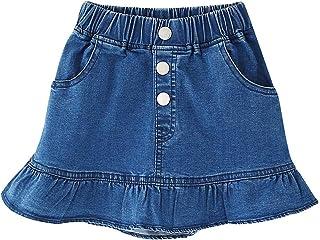 Kids Skirt, Elastic High Waist Ruffle Denim Scooter Skirt for Toddler & Little Girls, Blue, Tag Size 120 = US 4-5Y