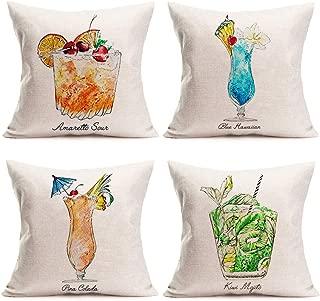Fukeen Summer Time Throw Pillow Cases Set of 4 Tiki Bar Mai Tai CocktailDecorative Cushion Covers Blue Hawaiian, Kiwi Mojito Quotes Cotton Linen Pillowcase Holiday Home Couch Decor Square 18x18 Inch
