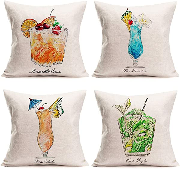Fukeen Summer Time Throw Pillow Cases Set Of 4 Tiki Bar Mai Tai Cocktail Decorative Cushion Covers Blue Hawaiian Kiwi Mojito Quotes Cotton Linen Pillowcase Holiday Home Couch Decor Square 18x18 Inch