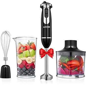 Immersion Hand Blender Mixer Electric, 4-in-1 Food Processor Stick Blender Set with Whisk/Food Chopper/800ml Mixing Beaker for Puree Infant Food, Smoothies, Sauces and Soups, 350W, Stainless Steel, BPA-Free, AICOK