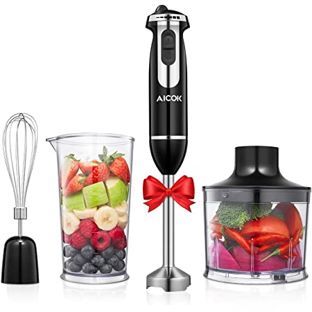 Immersion Hand Blender Mixer Electric 4-in-1 Food Processor High-Speed Stick Blender Set with Whisk/Food Chopper/800ml Mixing Beaker for Puree, Smoothies, Sauces and Soups, 12-Speed Control, Stainless Steel, BPA-Free, AICOK