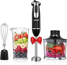Hand Blender, Aicok 4-in-1 Immersion Stick Blender 6-Speed Electric Hand Mixer Stainless Steel Set Includes Food Chopper, ...