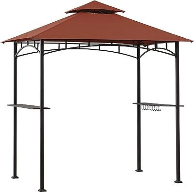 Sunjoy Harvey 5 x 8 ft. Steel 2-Tier Grill Gazebo, Red