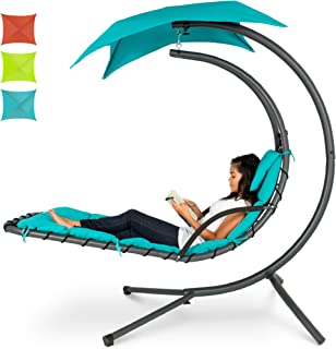 Best Choice Products Hanging Curved Chaise Lounge Chair Swing for Backyard, Patio..
