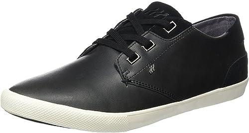 Boxfresh Stern Noir Blanc Hommes Cuir Formateurs Chaussures