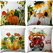 ULOVE LOVE YOURSELF 4pack Pumpkin Harvest Throw Pillow Covers with Red Truck Autumn Harvest Cushion Covers Blessings Thanksgiving Pillowcase 18 x 18 Inch
