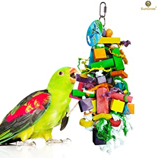 SunGrow Parrot Chewing Toy, Nibbling Keeps Beaks Trimmed, Preening Keeps Feathers Clean, Keeps Physically & Psychologically Fit, Multicolored Wooden Blocks Attract Pet's Attention