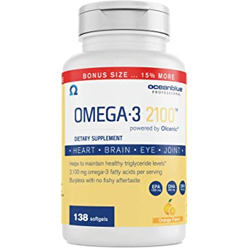 Ocean Blue Omega 3 2100-138 ct - Bonus Bottle 15% More Free - 2100 MGS of DHA EPA DPA per serv - Heart Eye Brain Support - No Fishy Aftertaste - 88% Fish Oil Concentration - Natural Orange Flavor