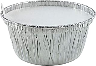 Aluminum Foil Disposable Baking Ramekins 4 ounce Baking Utility Cups with Lids - Made in USA (Pack of 50)