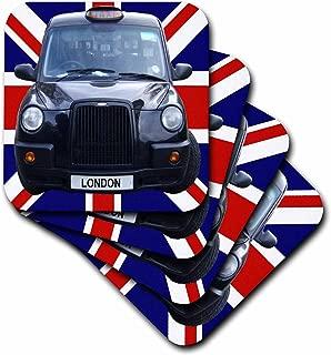 3dRose CST_113050_3 London Black Taxi Cab on British Flag Union Jack Background UK Great Britain United Kingdom Travel Ceramic Tile Coasters, (Set of 4)
