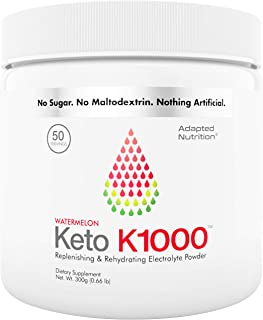 Keto K1000 Electrolyte Powder | Boost Energy & Beat Leg Cramps | No Maltodextrin or Sugar | Watermelon, Lighter Stevia Tas...
