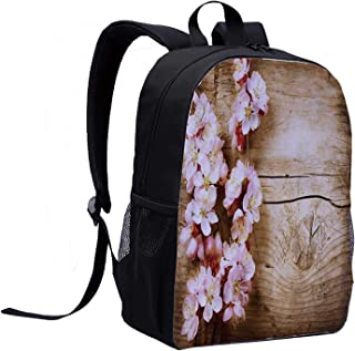 Floral Trendy Style Backpack,Spring Blossom Orchard Featured Plant on Wooden Board Background Image for Summer Camps,12″L x 5″W x 17″H