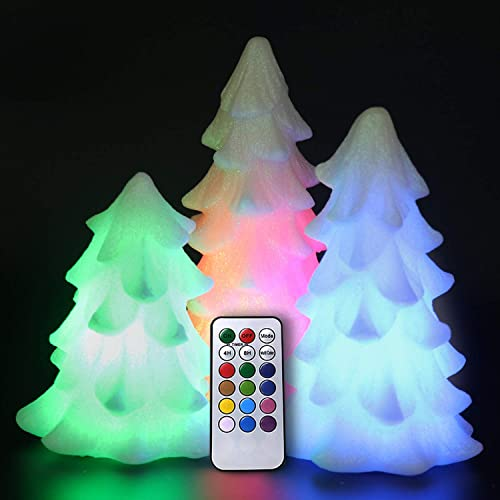 2021 Eldnacele Tree Shaped Christmas Flameless 2021 Flilckering Candles Color Changing with 18-Key Remote and Timer Set of 3, Battery wholesale Opeated Glitterring LED Candles Seasonal Decoration Ivory online sale