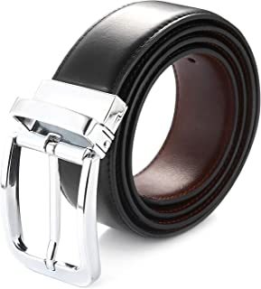 Men's Reversible Leather Belt Rotated Buckle Various Size