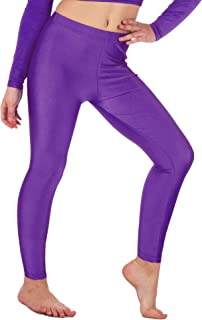 Re Tech UK - Girls Footless Leggings For Gymnastic/Dance - Shiny Stretch Fabric