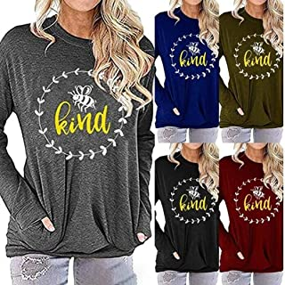 Gijoki Women Casual O-Neck Long Sleeve Print Loose Regular Pullover T-Shirt Top Knits & Tees