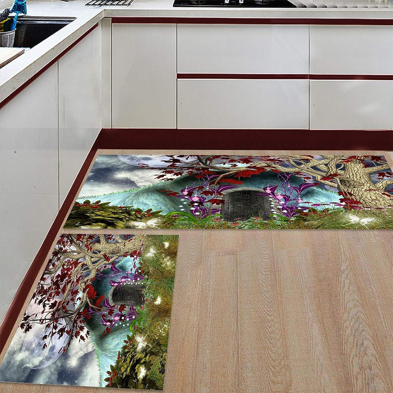 Fantasy Star Kitchen Rugs Sets 2 Piece Floor Mats Fairy Wonderland Tree House Doormat Non-Slip Rubber Backing Area Rugs Washable Carpet Inside Door Mat Pad Sets (23.6  x 35.4 +23.6  x 70.9 )
