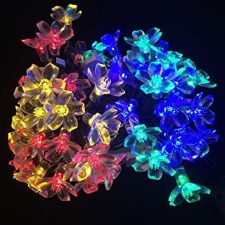 Solar Garden String Lights,Solar Powered Fairy Lights Outdoor 50 LED 22ft 8 Modes Waterproof Outdoor Flower String Lights ...