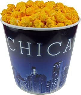 Signature Popcorn - Gourmet Cheddar Cheese Flavor - 1-Gallon Blue Chicago Skyline Reusable Plastic Bucket Tin