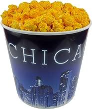 Signature Popcorn - Gourmet Cheddar Cheese Flavor - 1-Gallon Blue Chicago Skyline Reusable Plastic Bucket Tin