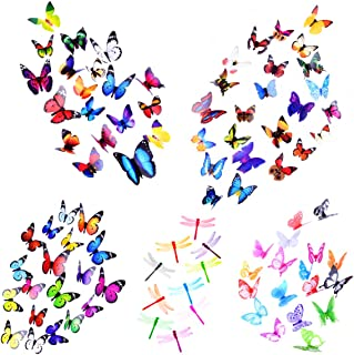 Heansun Wall Decal Butterfly Dragonfly, 90 PCS Wall Sticker Decals for Room Home Nursery Decor(80 Butterfly and 10 Dragonfly)