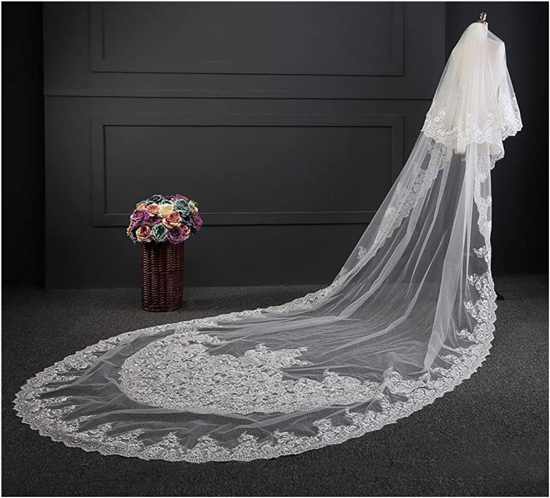 Fenghuavip Cathedral Wedding Veil 2 Tier Lace Edge White Ivory for Brides with Comb