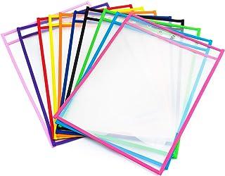 comprar comparacion Vordas 10 Piezas Resuable Dry Erase Pockets Papelería Suministros, Ideal para Uso en la Escuela o en el Trabajo (Colores S...