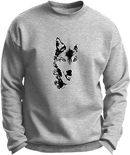 ThisWear Wolf Face Shadow Sketch Wolves Premium Crewneck Sweatshirt