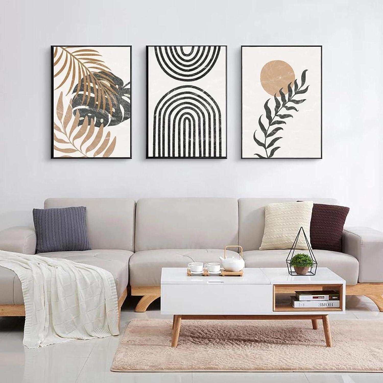 Ranking TOP9 PrintsonCanvas Max 80% OFF Abstract Pattern Leaf WallArt Black Beige Sun