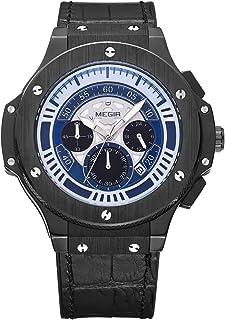 ميجير ساعة يد رجالية بسوار جلد، انالوج بعقارب، ML2035GBKBE-2N1
